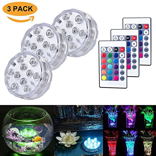 Submersible LED Lights 10 RGB LEDs 16 Colors Changing Waterproof Underwater Lights Multi Color Battery Powered with IR Remote Controller for Aquarium, Vase Base, Pond, Swimming Pool, Garden, Party
