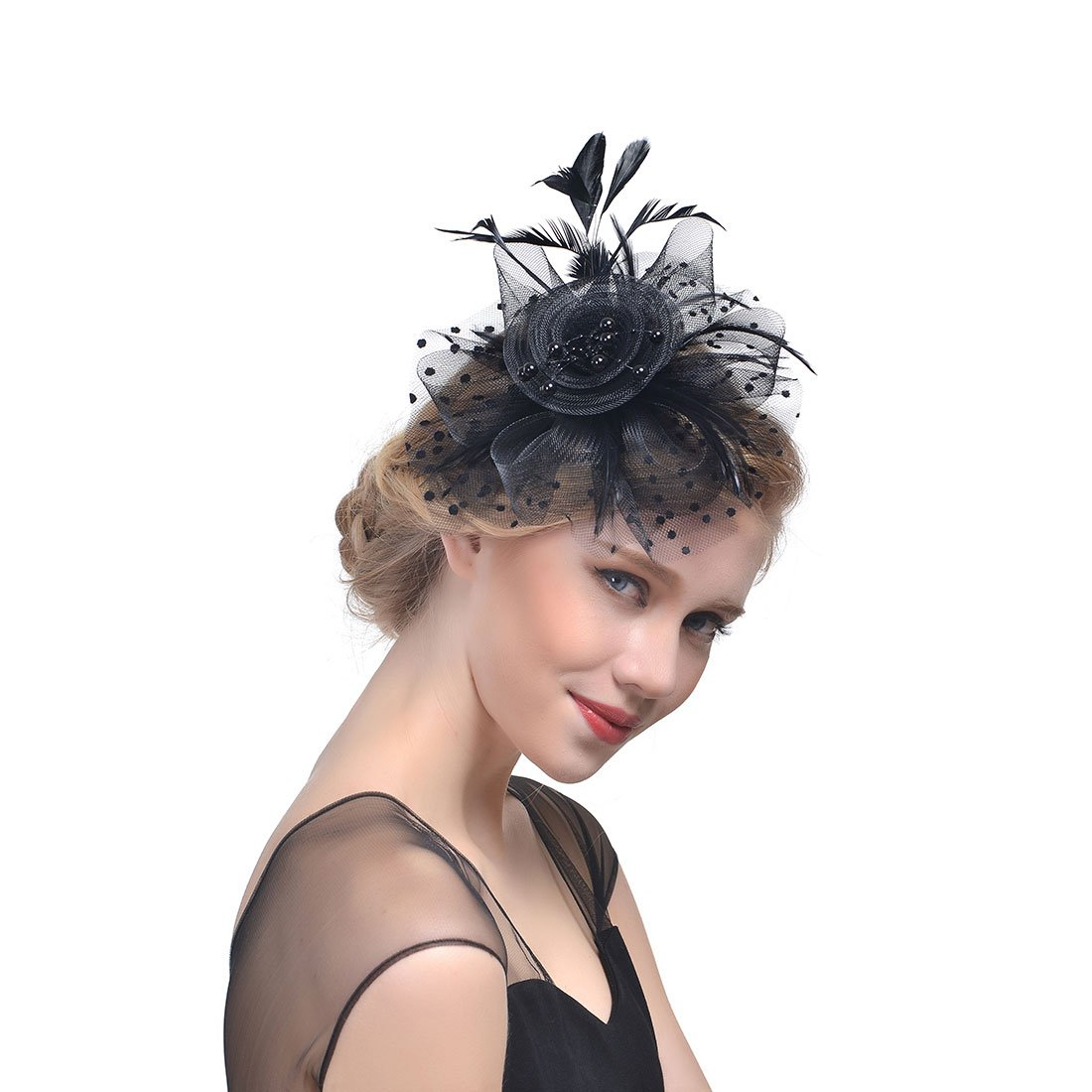 Lanzom Girls Lady Women Fascinators Hat Flower Mesh Feathers Hair Clip Tea Party Headband Kentucky Derby Wedding Cocktail Headwear (Black)