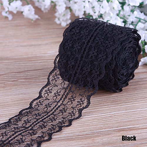 (LEIZENG Beautiful 4.5CM 10 Yards Retro Embroidered Lace Trim Ribbon DIY Craft Sewing Decor Black)