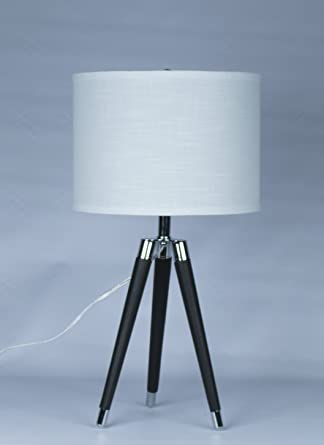 Urbanest Black Mid Century Modern Tripod Leather Chrome Table Lamp