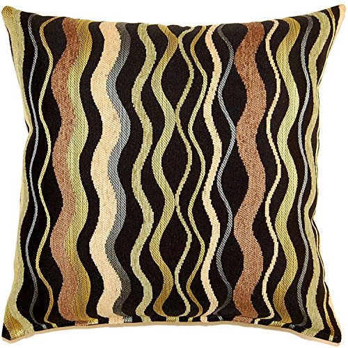 Citrine Knife - Dakotah Wave In Time Citrine Knife Edge Pillows, 17-Inch, Set of 2