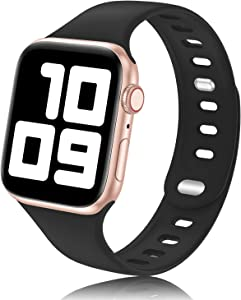 YAXIN Sport Band Compatible with Apple Watch Bands 38mm 40mm 44mm 42mm Women Men, Soft Silicone 2-Clasp iWatch Bands Replacement Strap Compatible for iWatch SE Series 6/5/4/3/2/1, Black