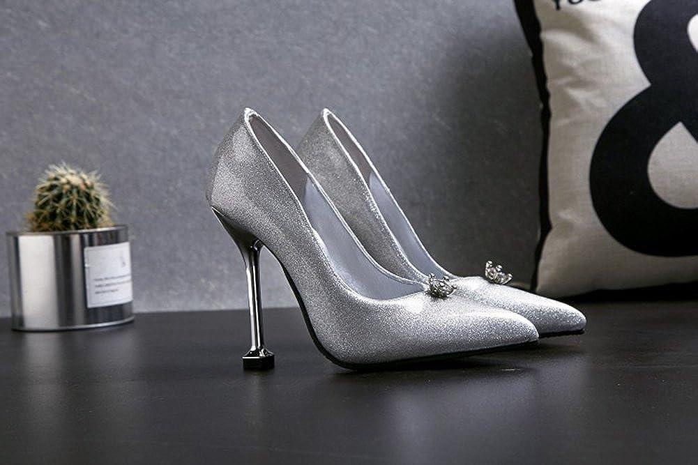 Aisun Damen Sexy Spitz Zehen Paillette Strass Paillette Zehen Niedrig Top Stiletto High Heels Abendschuhe Pumps Silber 67c349
