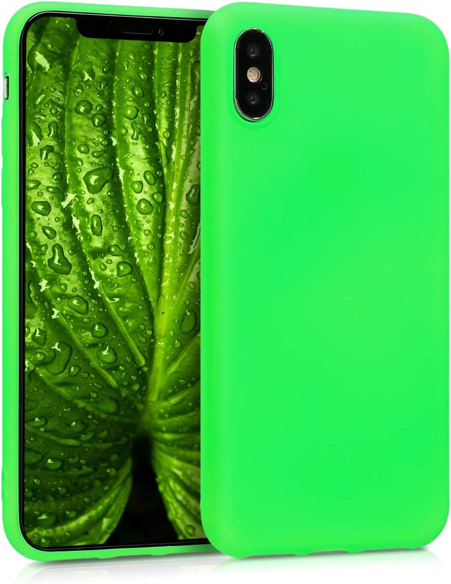 kwmobile TPU Silicone Case Compatible with Apple iPhone X - Soft Flexible Protective Phone Cover - Neon Green