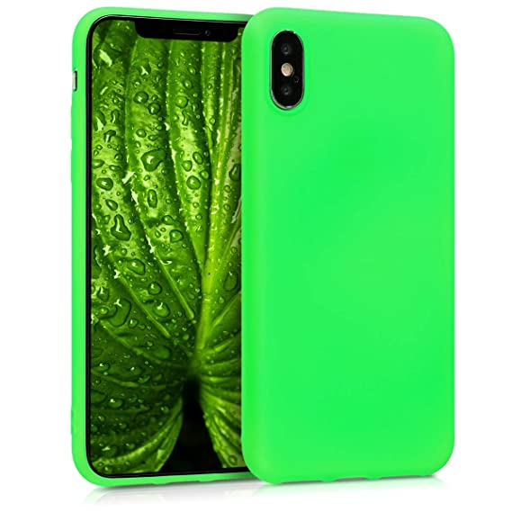 huge selection of e14f4 4a5b0 kwmobile TPU Silicone Case for Apple iPhone X - Soft Flexible Shock  Absorbent Protective Phone Cover - Neon Green