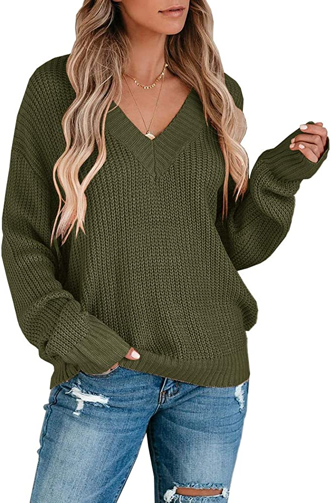 Chang Yun Womens V Neck Chunky Knit Sweater Pullover Long Sleeves Oversized Loose Fit Slouchy Jumper Top