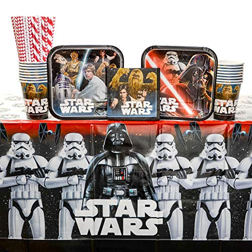 Classic Star Wars Birthday Party Supplies Pack for 16 Guests: Straws, Dessert Plates, Beverage Napkins, Table Cover, and Cups -