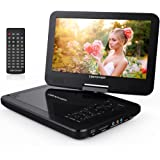 "DBPOWER 10.5"" Portable DVD Player with Swivel Screen, 3 Hours Rechargeable Battery, SD Card Slot and USB Port - Black"