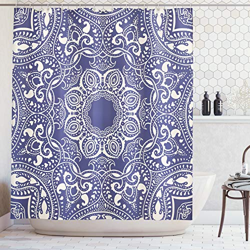 Ambesonne Navy Blue Shower Curtain 84 Inch Mandala Decor, Circular Pattern Summer Boho Bohemian Native Asian Print, Polyester Fabric Bathroom Set with Hooks, Navy Blue -