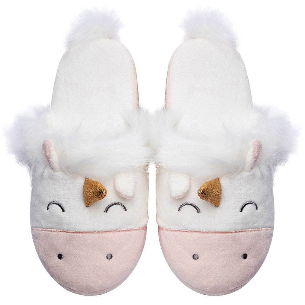 Unicorn Animal Slippers | Indoor Outdoor Women Slippers | Cozy Plush Home Shoes | Cute Fluffy Girls Slippers