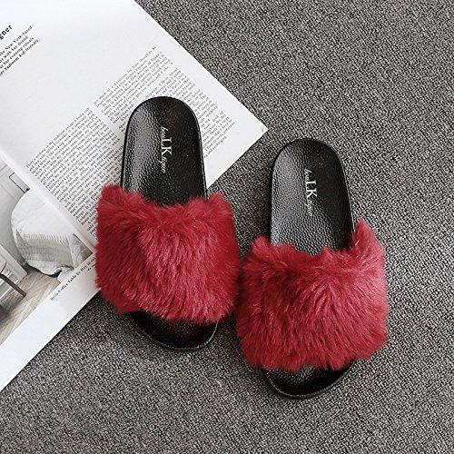 Fankou Autunno e Inverno pantofole home giovane anti-slittamento e camera da letto home cose carine da indossare uomini cotone pantofole estate femmina rosso vino standard di ,38,