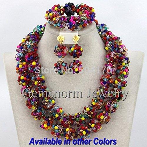 - Multicolored Wedding Crystal Jewelry Sets | Handmade Beaded Choker Necklace Set