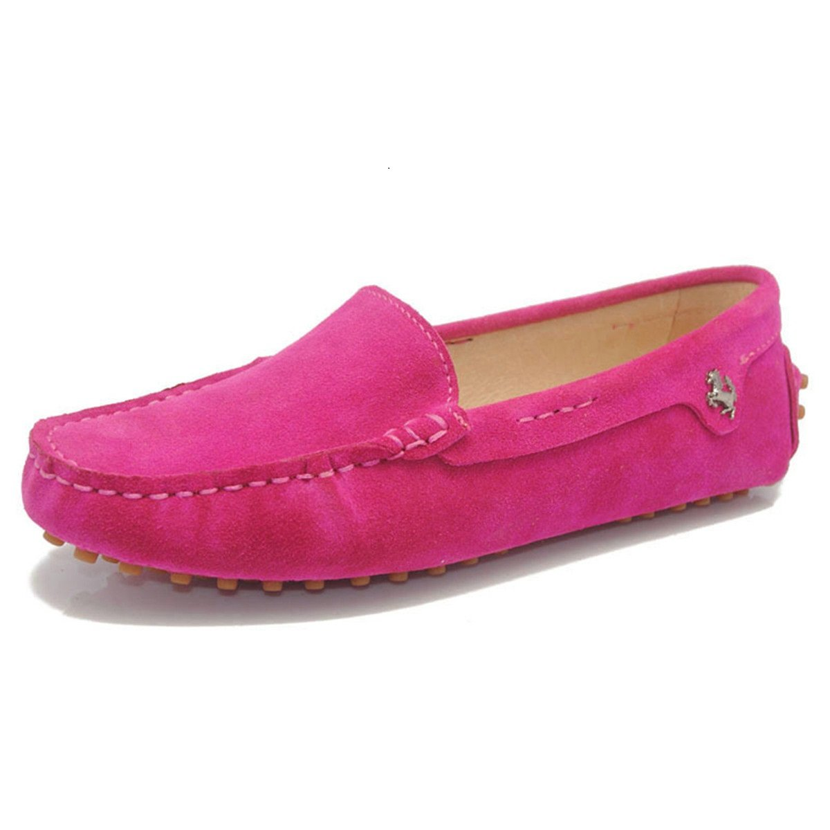 Goeao Women Casual Comfortable Basic Suede Leather Driving Moccasins Flats Slip-ONS Boat Loafers (9 B(M) US, Rose)
