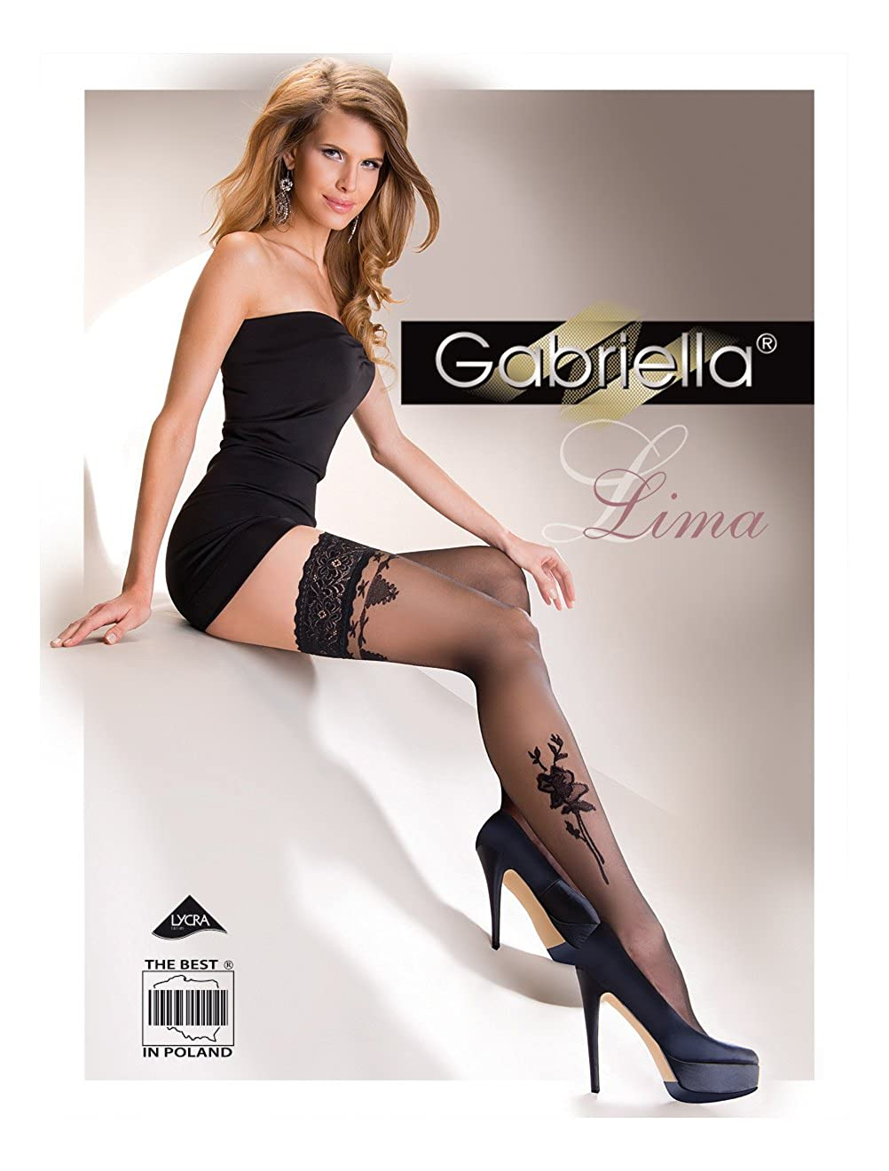 Lace Top Hold-ups with Floral Pattern LIMA 20 Denier by Gabriella
