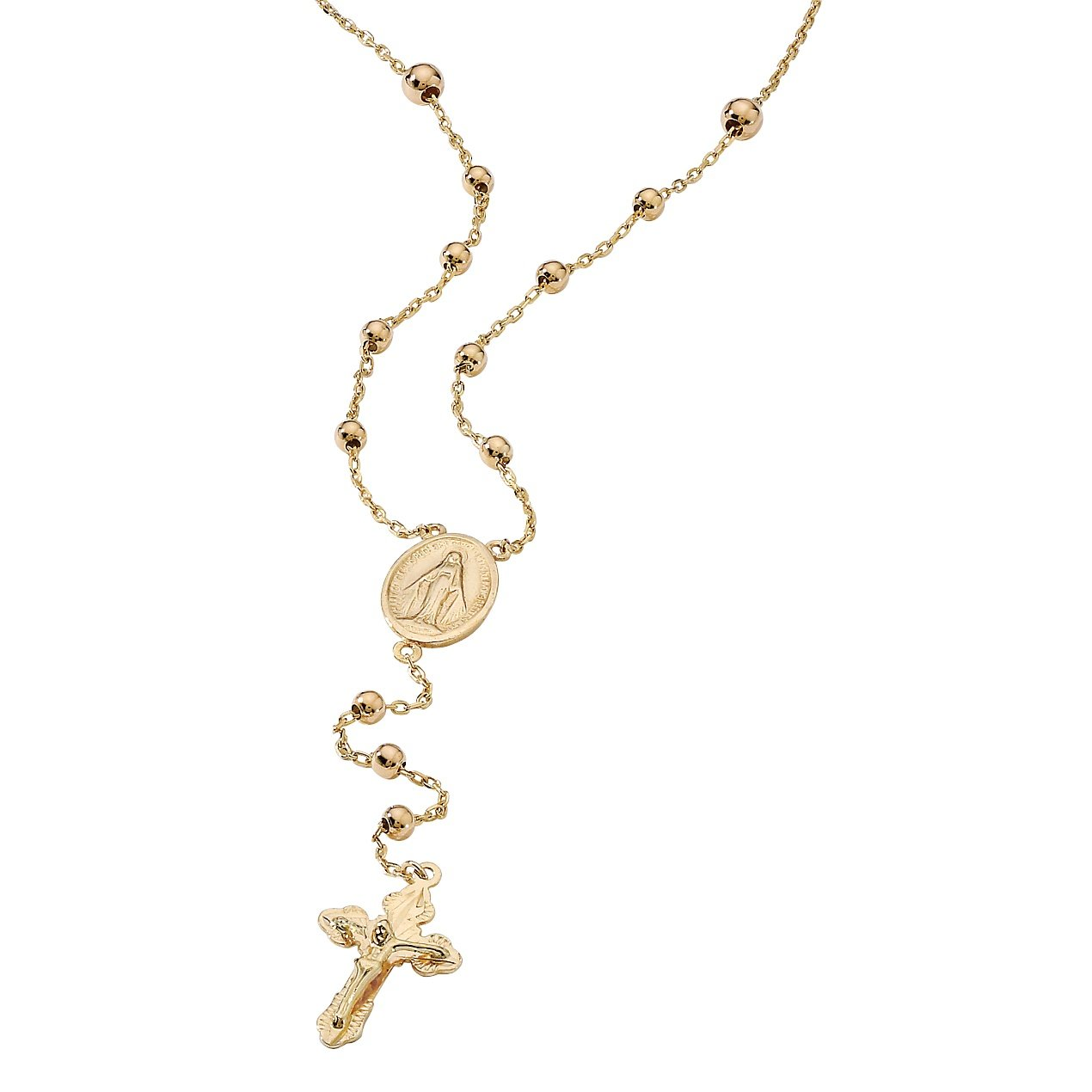 18K Yellow Gold over Sterling Silver Style Rosary Necklace (3mm), Lobster Claw Clasp, 17 inches by Palm Beach Jewelry