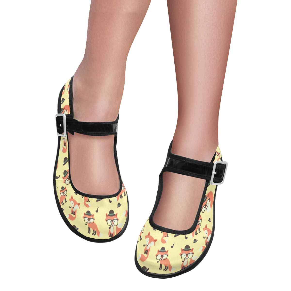 INTERESTPRINT Womens Slip-Resistant Mary Jane Flats for Dr Scholls Cute Cartoon Foxes