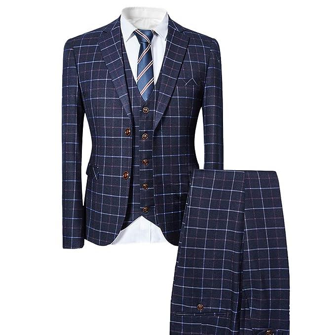 Amazon.com: Traje de vestir de 3 piezas para hombre con dos ...