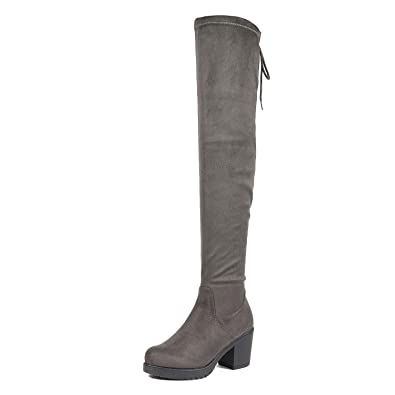 323373e04221 DREAM PAIRS Women s Fashion Over The Knee Chunky High Heel Thigh High Boots