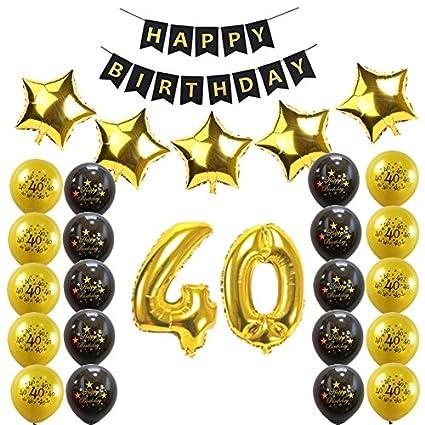 Losuya 40 Cumpleaños Kit de Decoraciones para Fiestas ...