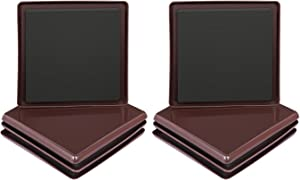Ezprotekt 8 Pack Reusable Furniture Slider for Carpet,5 Inch Square Brown Furniture Mover,Furniture Sliders Carpet Sliders Furniture Moving Sliders Furniture Moving Pads Furniture Glides