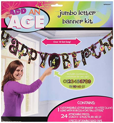 (Amscan Vibrant Neon Jumbo Add-an-Age Letter Birthday Party Banner Decoration (1 Piece), 10 1/2' x 10