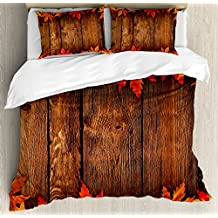 Fall Decor Queen Size Duvet Cover Set by Ambesonne, Dry Leaves Poured Onto Wooden Board Cabin Cottage Rustic Country House, Decorative 3 Piece Bedding Set with 2 Pillow Shams, Scarlet Brown Orange