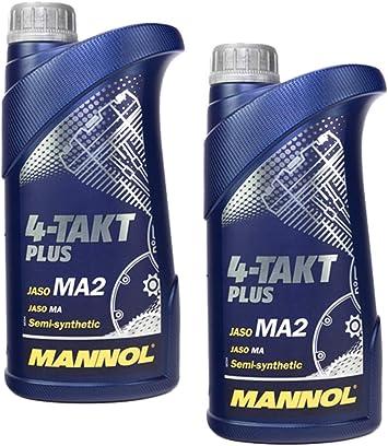 Mannol 4 Takt Plus Api Sl Sae 10w 40 Teilsynthetisch 2 Liter Motorrad Öl Motorradöl Roller Auto