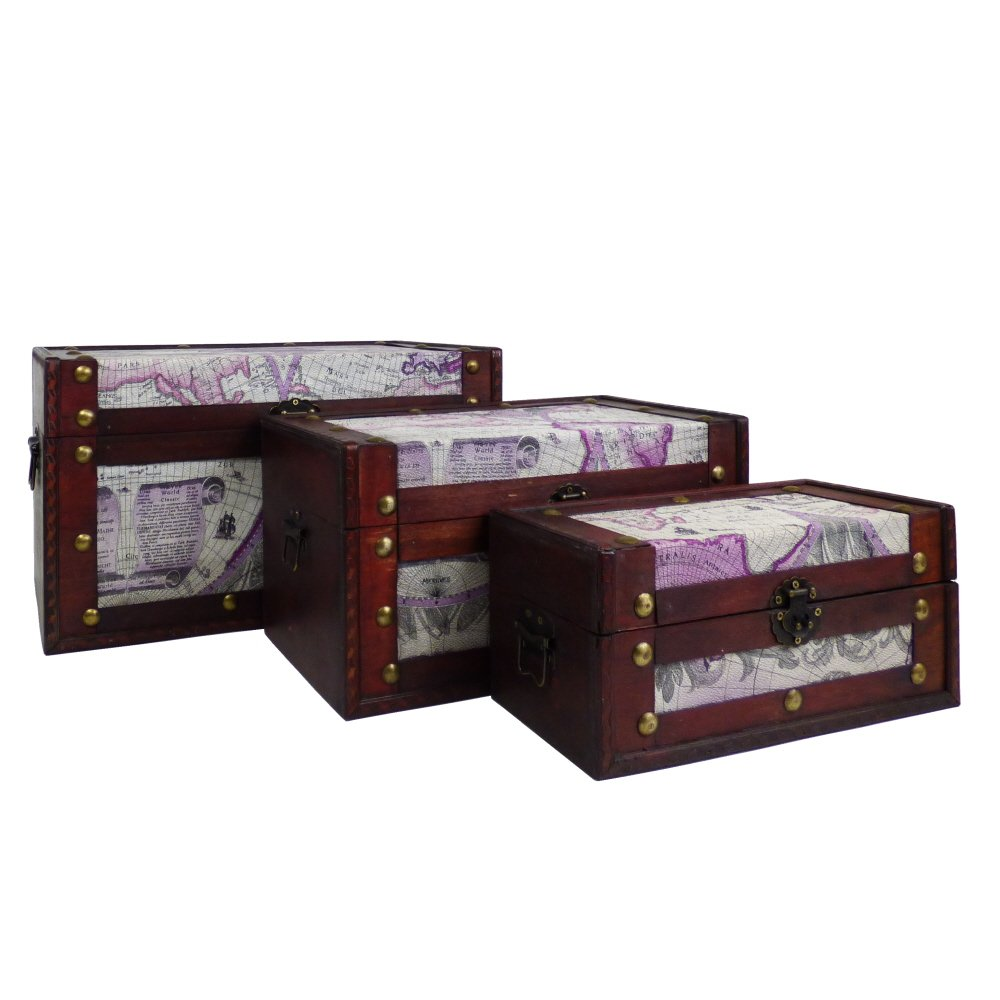 Fine Gifts 3 Various Sizes Decorative Wooden Storage Chest Trunks in our 'Around the World' Design - Gift ideas for Mum, Mothers Day, Christmas, Birthday, Keepsake, Toy Box