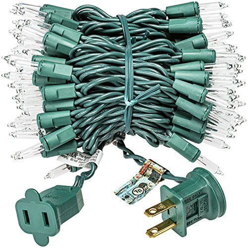 Prextex 100-Count Clear Green Wire Christmas Light Set Christmas Decorations by Prextex (Image #1)'