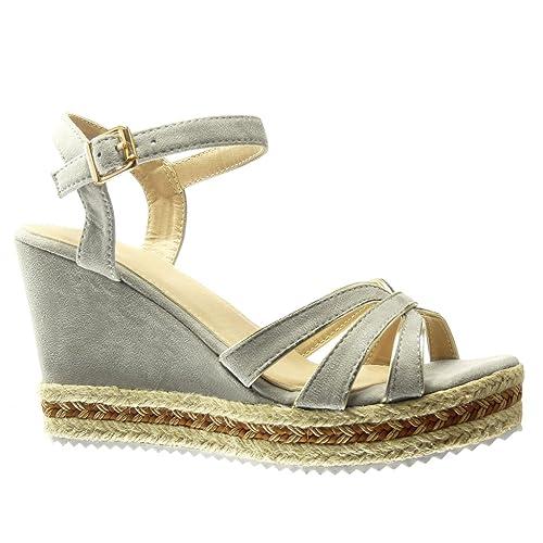 Angkorly - Zapatillas Moda Alpargatas Sandalias Plataforma Mujer Tanga Multi-Correa Cuerda Plataforma 10 CM: Amazon.es: Zapatos y complementos