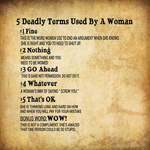 5 Deadly Terms Used by A Woman Fine Noth? Funny Spiritual Metal Sign Wall Decor Paper Background (Five Deadly Terms Used By A Woman)