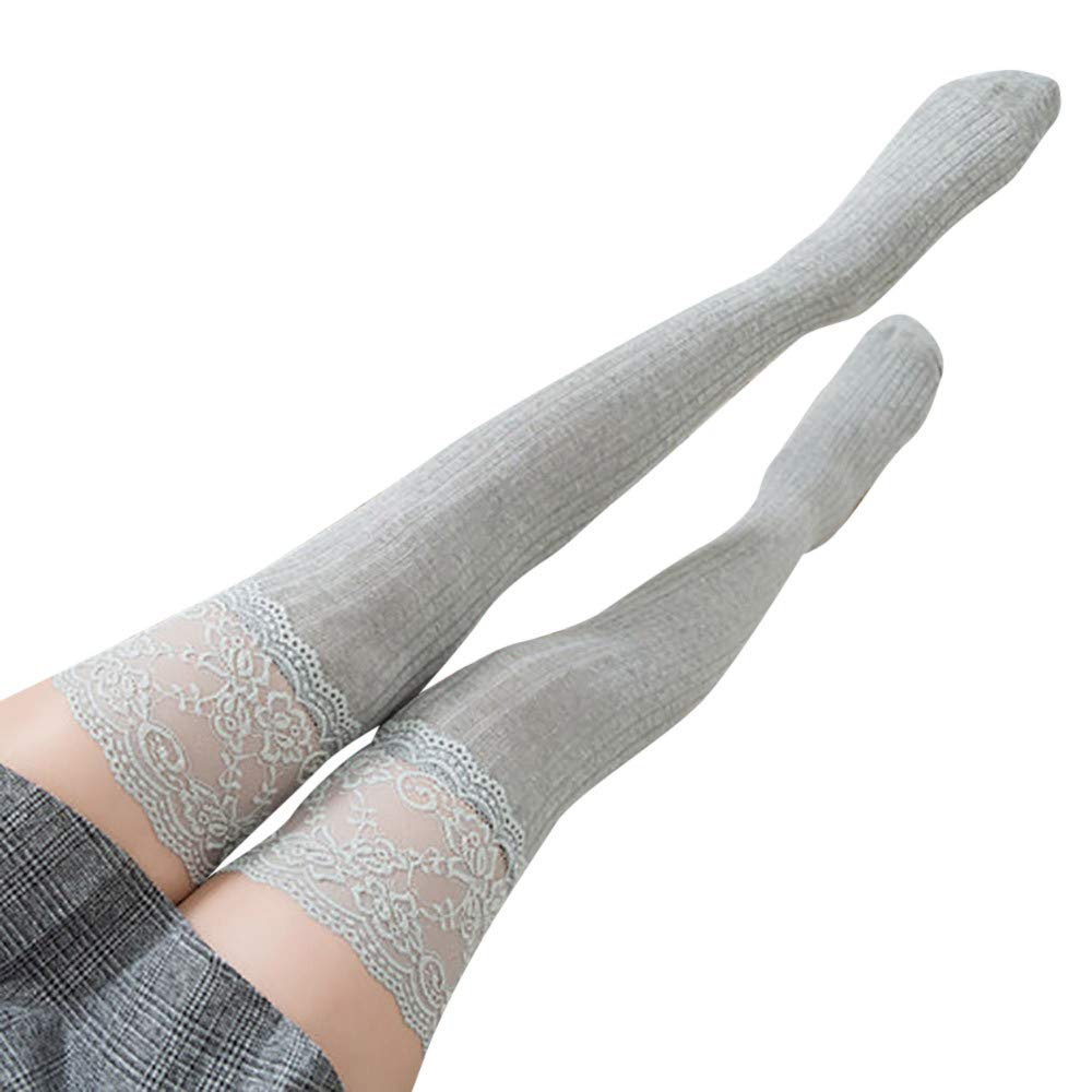 Women Lace Trim Thigh High Over The Knee Socks Long Cotton Warm Stockings