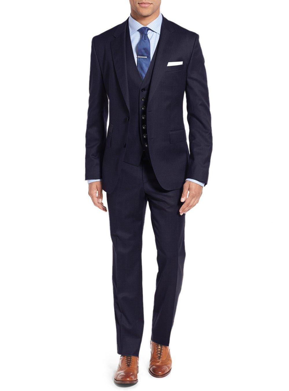 Salvatore Exte Mens Suit Vested Three Piece Blazer Jacket Dress Vest Plus Pants (40 Long US / 50L EU/W 34'', Modern Fit Navy)