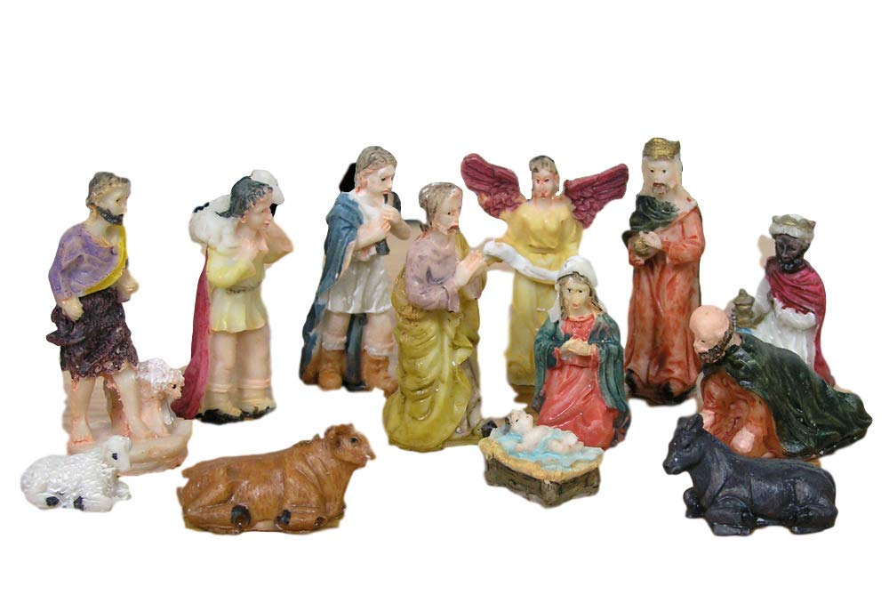 BANBERRY DESIGNS Nativity Set Figures -13 Pieces, includes Mary, Joseph, Baby Jesus in Manger, Angel, Wisemen, Shepherds, and Animals