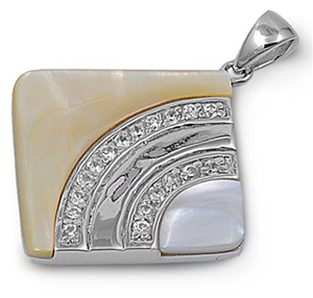 Sterling Silver Abstract Rounded Square Pendant Simulated Mother of Pearl Charm