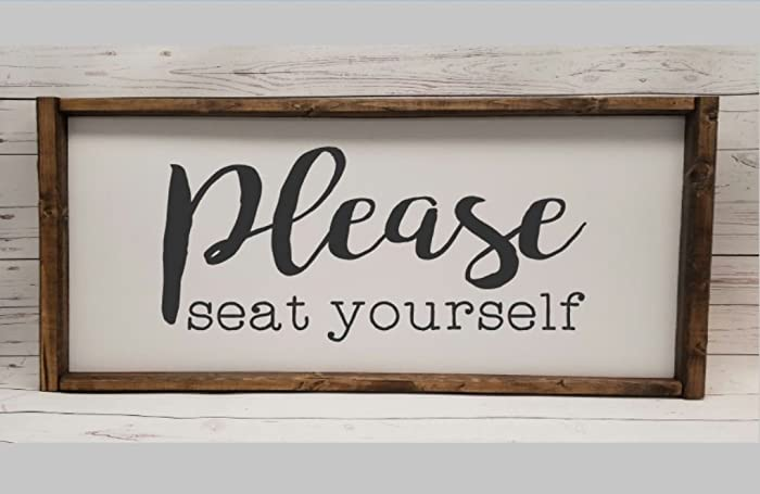 Please Seat Yourself, Farmhouse Sign, Rustic Decor, Fixer Upper Style,  Funny Bathroom