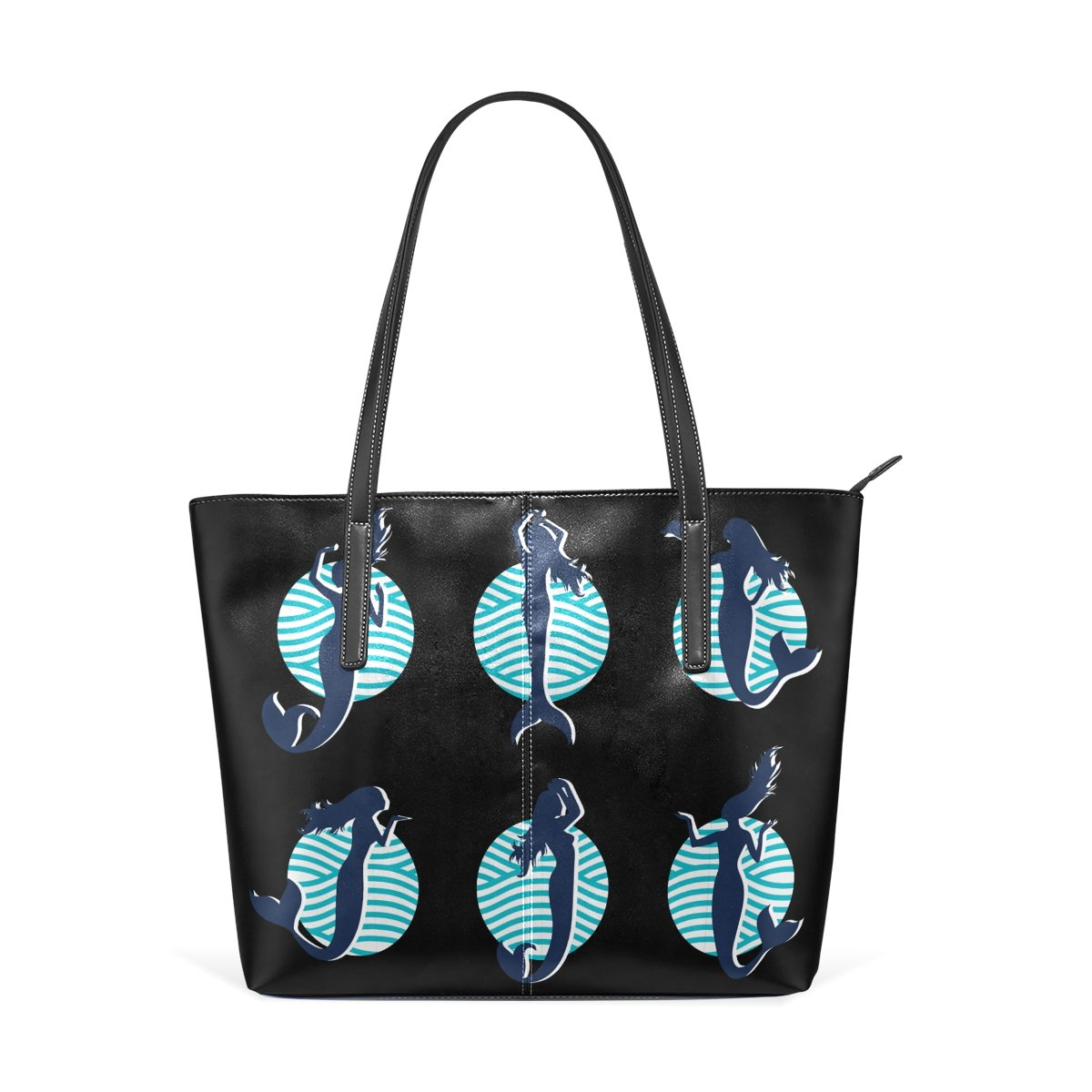 af420cff6902 Amazon.com: Womens Leather Handbags Funny Mermaid Purses Shoulder ...
