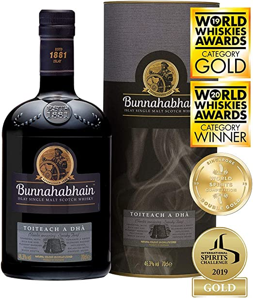 Bunnahabhain Toiteach A DHÀ Single Malt Scotch Whisky en caja de regalo, 700 ml: Amazon.es: Alimentación y bebidas