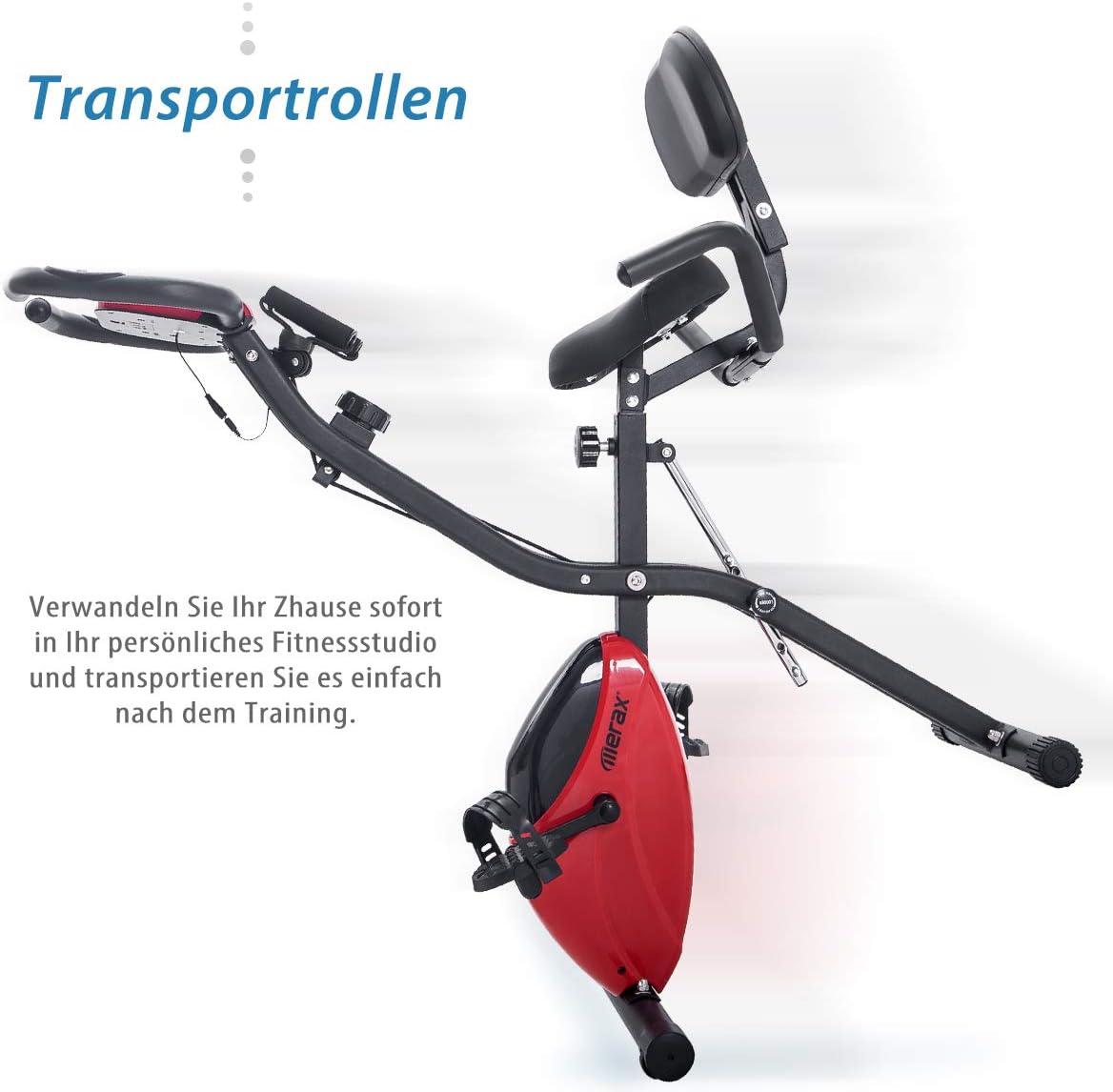 4 en 1 EU Stock Bicicleta Fitness 2 Bandas Pantalla LCD 10 Niveles de Resistencia Coolautoparts Bicicleta Est/ática Plegable con Respaldo Bicicleta de Ejercicios Aer/óbicos Gimnasio Casa
