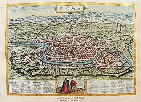 Roma Cartina Turistica Da Stampare.Florenceprints Stampa D Arte Mappa Di Roma 1572 42x30 Su Carta Antica Stampata E Dipinta A Mano Amazon It Casa E Cucina