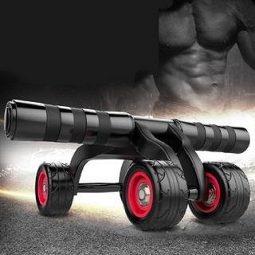 Earnest Muscle Training Strength Abdominal Roller Wheel Shoulders Exercise Fitness Workout Double Gym Arms Easy Glide Padded Handles High Resilience Ab Rollers Sports & Entertainment