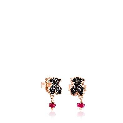 f010ef9bd Amazon.com: TOUS Motif Black Spinnel and Ruby Bear Stud Earrings: Jewelry