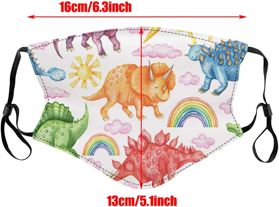 5PC Kids Face Protection Resuable with Insert Pocket Washable Cartoon Printed Adjustable Face Bandana Dustproof Windproof Breathable with Elastic Strap Earloop
