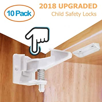 Child Safety Cupboard Locks 10 Pack No Drilling Needed,with Back Up Strong Adhesives Baby Safety Locks for Cabinets /& Drawers Easy Install in Seconds