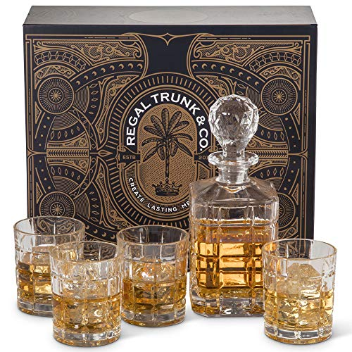 Elegant 5 Piece Whiskey Decanter Set in a Spectacular Gift Box - Lead Free Crystal Glass Whiskey Decanter with 4 Whiskey Glasses - Square Engraved | Bourbon Scotch Liquor Dispenser - Perfect Gift