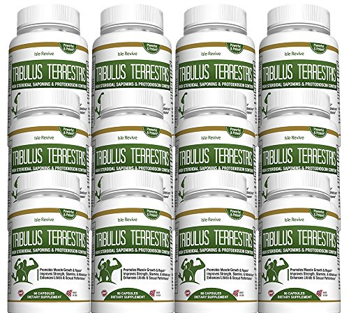 Tribulus Terrestris Testosterone Booster Capsules - Muscle Building Strength Endurance Energy Enhancer for Weight Loss Bodybuilding Performance 12 Bottles 90 Capsules Made in USA by Isle Revive