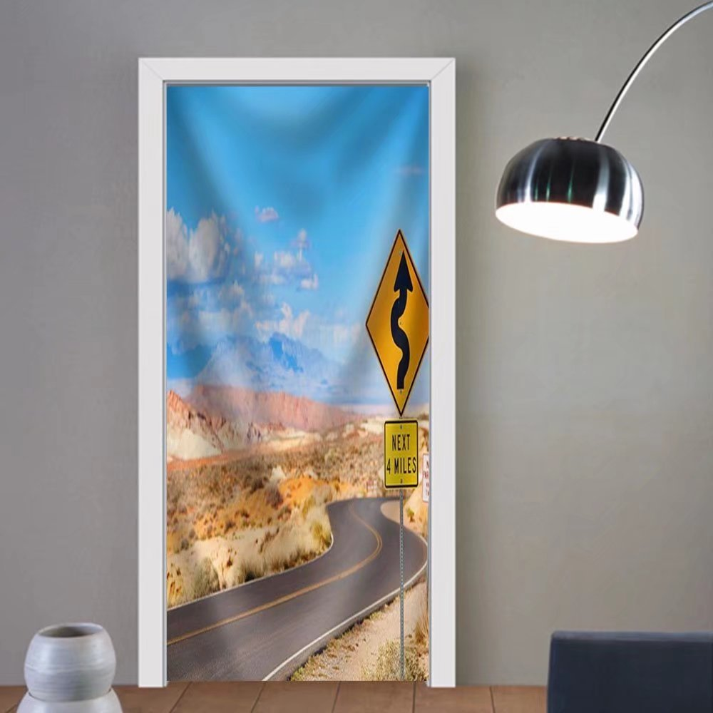 Niasjnfu Chen custom made 3d door stickers Scenic LaUIFcape with Winding Road in Valley of the Fire National Park in Nevada Usa Fabric Home Decor For Room Decor 30x79