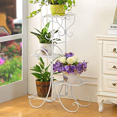 Plant Stand Indoor 4 Tier Iron Stand Outdoor Displaying Plant Holder for Garden Patio Decors,White: Garden & Outdoor