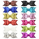 Royarebar Diverse Styles Hair Decorations 12PCS Child Girl Sequins Hair Clips Baby Bow Tie Pretty Hair Clip