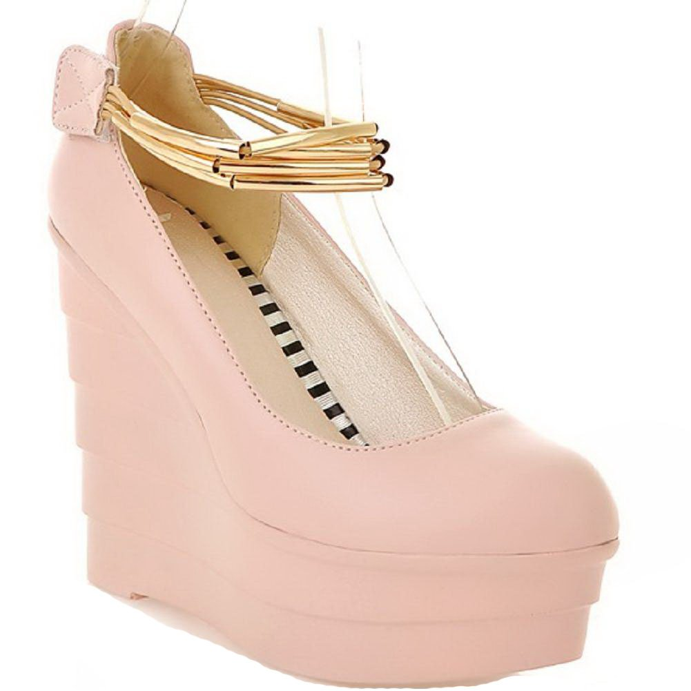 VogueZone009 Women's Round Closed Toe Hook-and-loop PU Solid High-Heels Pumps-Shoes, Pink, 38